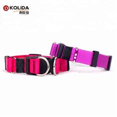 Adjustable Pet Nylon Dog Collars For Safety Double D Ring Fur Decoration